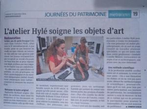 article sur l'Atelier Hylé dans le MetroNews parisien du 19 septembre 2014