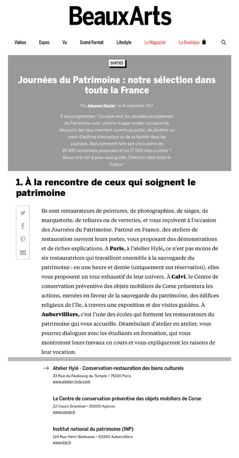 Citation de Beaux Arts Magazine septembre 2017