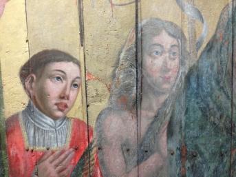 Saint Etienne et Saint Jean-Baptiste, en cours de nettoyage et de refixage de la polychromie