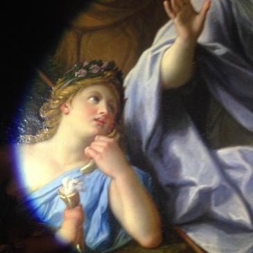 Les Muses et Minerve de R.A. Houasse, XVII°s vue en lumière blanche