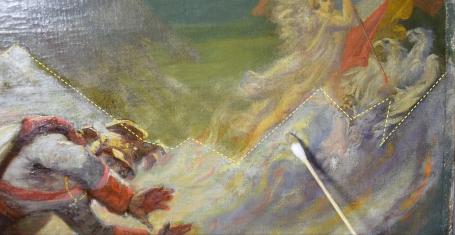 détail en cours de nettoyage du vernis ©F.Foucher