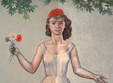détail de Marianne en cours de décrassage (qui est aussi le portrait de la femme du peintre), la moitié gauche reste à nettoyer